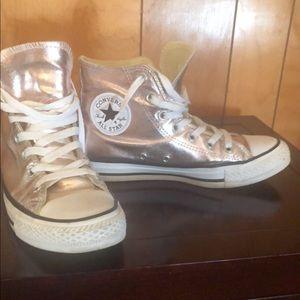 Rose gold metallic Converse